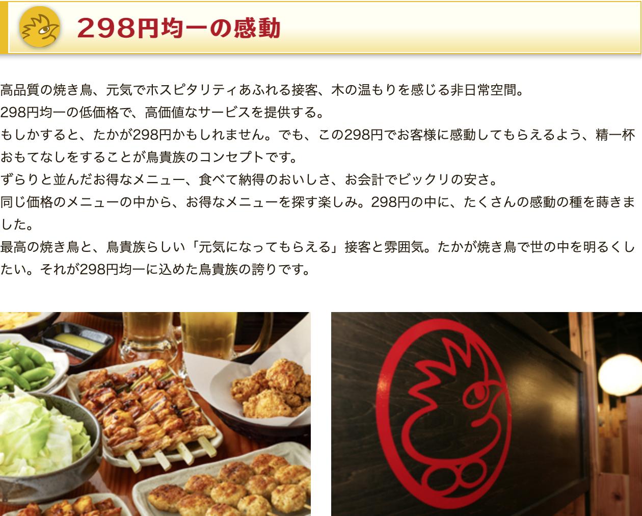 鳥貴族 焼き鳥 298円